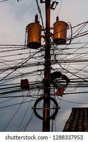 Mess of wires in Gracias town, Honduras