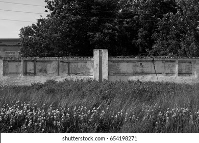 message Board in an abandoned city. melancholic atmosphere and textured white wall. notes of a tourist