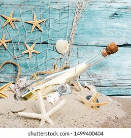 Message In Bottle found on the beach. Background with different seashells, starships and white sand.