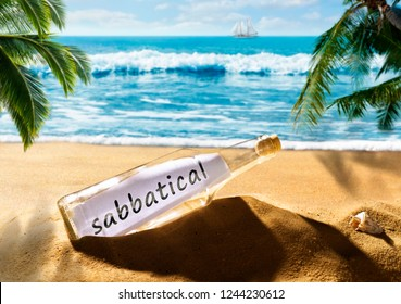Message in a bottle with the note sabbatical on a beautiful tropical beach