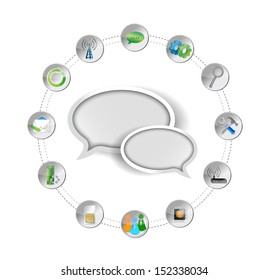 message bubble and tools settings illustration design over white