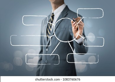 Message bubbles for business and finance concept. Businessman is writing blank message bubbles, for input any information or messages, on bright tone background.