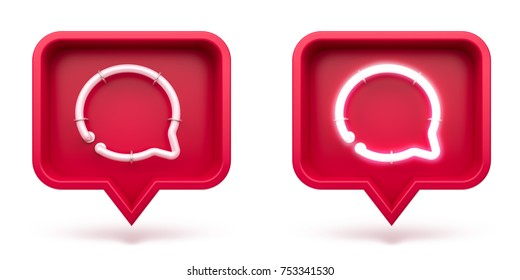 Message icons on a red pin isolated on white background. Set neon message symbol. 3d render