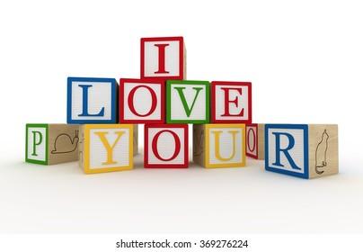 Message I love you spelled in wooden blocks 3d rendering