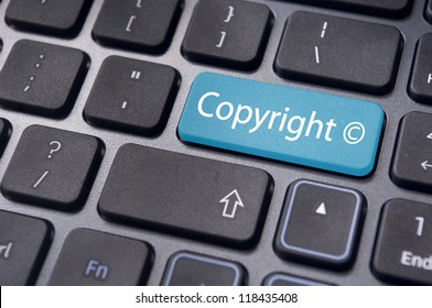 message on keyboard enter key, to illustrate the concepts of copyright.
