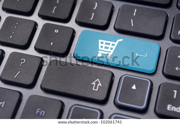 message on keyboard pad, for online or internet shopping concepts.