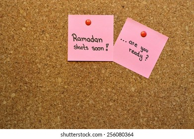 """The message """"Ramadan starts soon...are you ready?"""" on a pin board"""