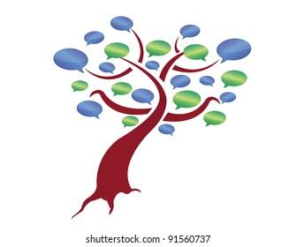 message tree illustration design over a white background