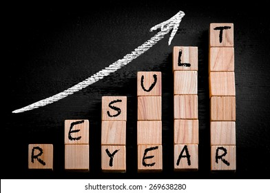 Message YEAR RESULT on ascending arrow above bar graph of Wooden small cubes isolated on black background. Chalk drawing on blackboard. Business Concept image.