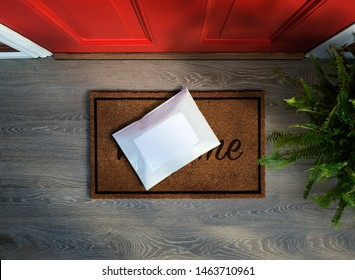 Messenger envelope pack delivered to door step. Overhead view. Copy space