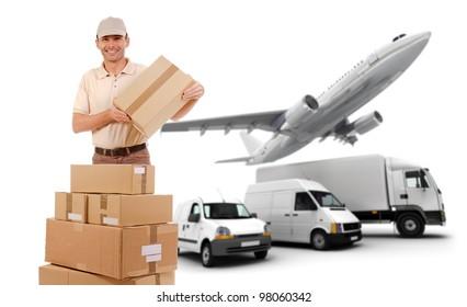 A messenger, packages and a transportation fleet