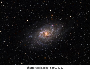 Messier 33 Triangulum Galaxy. Colorfull real photo (not NASA picture).