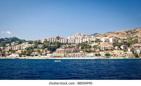 Messina cityscape taken from the sea, Sicily, Italy