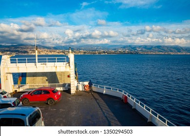 Messina, Italy - 9.02.2019: Passenger ferry in the Mediterranean Sea from Messina in Sicily, Italy