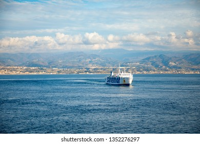 Messina, Italy - 9.02.2019: Passenger ferry in the Mediterranean Sea to Messina in Sicily, Italy