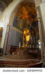MESSINA, ITALY - APR 18, 2018 - Mosaic of Christ enthronerd in apse of 14th century Duomo Cathedral Messina Sicily, Italy