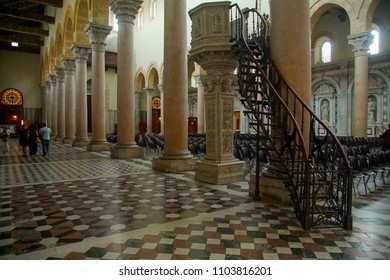 MESSINA, ITALY - APR 18, 2018 - Inlaid marble floor of the Duomo Cathedral Messina Sicily, Italy