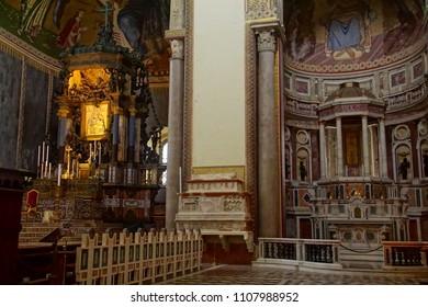 MESSINA, ITALY - APR 18, 2018 - Main altar of 14th century Duomo Cathedral Messina Sicily, Italy