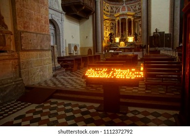 MESSINA, ITALY - APR 18, 2018 - Candle lit  altar of 14th century Duomo Cathedral Messina Sicily, Italy
