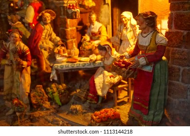 MESSINA, ITALY - APR 18, 2018 - Diorama of rural life as part of nativity creche in the Duomo Cathedral Messina Sicily, Italy