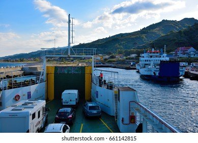 MESSINA ITALY APRIL 23:Ferry for motor vehicles and people crossing the Strait of Messina- April 23 2017 Messina Italy
