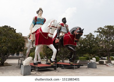 Messina/ Italy August 25 2019- Patronal Feast August- The giants of Messina: Mata and Grifone