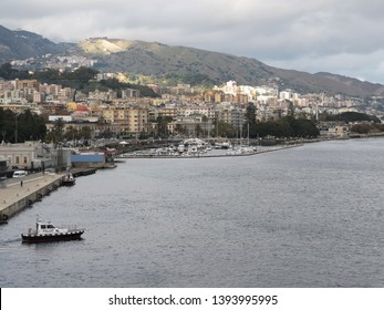 Messina, Italy - December 24, 2018: Messina Port is a port serving Messina, Sicily, Italy.
