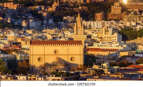 MESSINA, ITALY - NOVEMBER 06, 2018 - Panoramic view of the city and the Duomo di Messina or Messina Cathedral in Sicily