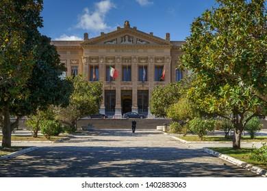 MESSINA, ITALY - NOVEMBER 06, 2018 - Palazzo Zanca, Municipio di Messina on Piazza Unione Europea.