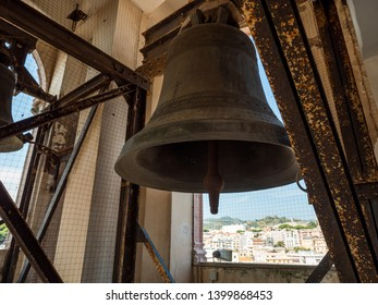 MESSINA, ITALY - OCTOBER 13, 2018. Interior of the bell tower and clock tower of the Messina cathedral. The bells of the Cathedral of Messina.
