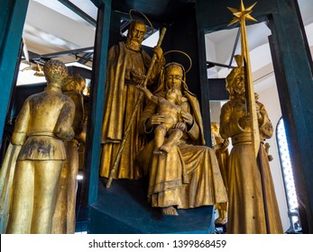 MESSINA, ITALY - OCTOBER 13, 2018. Interior of the bell tower and clock tower of the Messina cathedral, the statues of the bell tower of the Duomo.