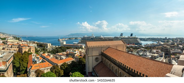 MESSINA, ITALY - OCTOBER 13, 2018. Panoramic view of the city of Messina from the bell tower of the Cathedral of Messina. The Strait of Messina during a beautiful day.