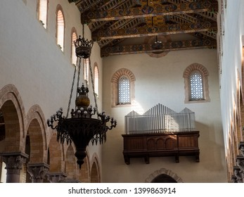 MESSINA, ITALY - OCTOBER 13, 2019. Interior of the Cathedral of Messina (Messina Cathedral)  is a Roman Catholic cathedral located in Messina, Sicily, Italy.