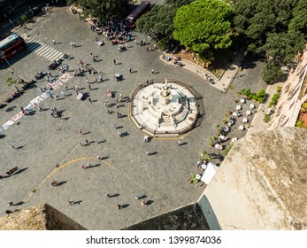 MESSINA, ITALY - OCTOBER 13, 2019. The square of the Cathedral of Messina (Duomo di Messina)  is a Roman Catholic cathedral located in Messina, Sicily, Italy.