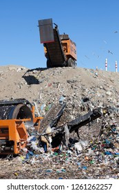 Messina, Sicily, Italy, 11 October 2012, municipal landfill. waste disposal in a modern landfill