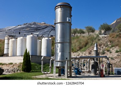 Messina, Sicily, Italy, 11 October 2012, municipal landfill. methane gas production plant