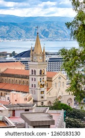 Messina, Sicily / Italy - 11.01.2016: The tower of the cathedral church in Messina and panoramic view to the city.