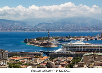 Messina, Sicily, Italy - June, 25, 2019: Port of Messina with cruise ships. The Strait of Messina is a narrow strait between the eastern tip of Sicily and the western tip of Calabria.