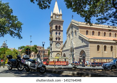 Messina, Sicily, Italy - June, 25, 2019: Messina Cathedral (Duomo di Messina) is a Roman Catholic cathedral located in Messina city, Sicily, Italy. Clock tower has the astronomical clock.
