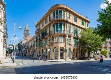 "Messina, Sicily, Italy - June, 25, 2019: The architecture of the historic city of Messina. Bed and breakfast  ""Lepanlo""."