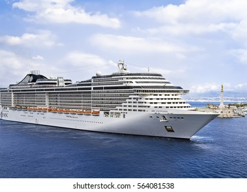 MESSINA, SICILY, ITALY - MAY 05, 2011: MSC Fantasia cruise ship sailing to port. MSC Fantasia is the largest cruise ship ever built for a European ship owner