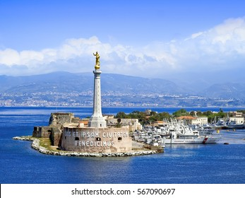 MESSINA, SICILY, ITALY - MAY 05, 2011: View of the Messina's port with the gold Madonna della Lettera statue