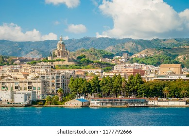 Messina Sicily landscape. Messina cityscape. Blue Ionian sea and Peloritani mountain range. Scenery coastal city view. Mediterranean resort. Italy city scape. Italian port. Europe voyage.