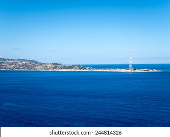 Messina View with Electrical Pylon and Vulcano Stromboli