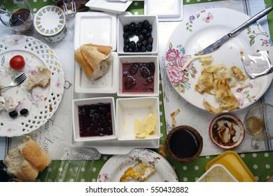 Messy breakfast table