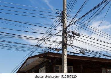Messy cable electricity,Rural Thailand.