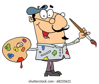 Messy Caucasian Cartoon Artist Painter With A Brush And Palette