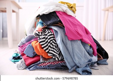 Messy colorful clothing, closeup