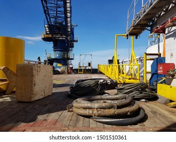 Messy deck of a construction boat at oilfield