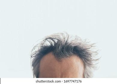 messy hair man on white background